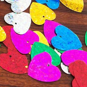 Sequins, Mixed colour, 20mm x 20mm, 45 pieces, 5g, Heart shape, Sequins are shiny, [CZP658]